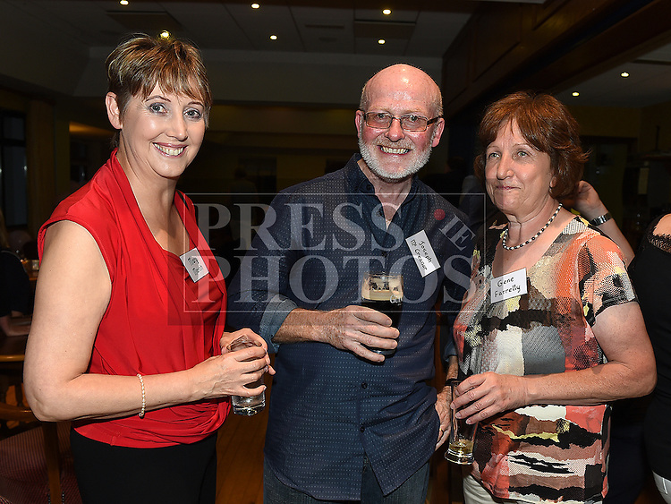 Mary Martin, Joseph McCreanor and Gene Farrelly at the Ardee CS Leaving Cert Class of 1976 reunion in Ardee Golf Club. . Photo:Colin Bell/pressphotos.ie