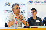 Marc Madiot General Manager Groupama-FDJ press conference before the 105th edition of the Tour de France 2018, held in Vend&eacute;space, La Roche-sur-Yon, France. 4th July 2018. <br /> Picture: ASO/Bruno Bade   Cyclefile<br /> All photos usage must carry mandatory copyright credit (&copy; Cyclefile   ASO/Bruno Bade)