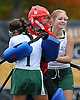 Carle Place goalie Megan McGuinness, center, celebrates with teammates No. 1 Alexis Ruiz, left, and No. 20 Skylar Reed after the Frogs' 5-0 win over Oyster Bay in the Nassau County varsity field hockey Class C final at Adelphi University on Sunday, November 1, 2015.<br /> <br /> James Escher