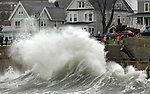 Waves crash along the seawall in Lynn, Massachusetts on on Monday, October 29, 2012.