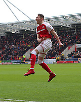 Rotherham United VS Peterborough UNITED, New York Stadium Rotherham, Friday 30th March 2018 <br /> <br /> CAOLEN LAVERY CELEBRATES SCORING THE WINNER FOR ROTHERHAM UNITED AGAINST BOROUGH<br /> <br /> <br /> Picture - Alex Roebuck / www.alexroebuck.co.uk Rotherham United VS Peterborough United<br />