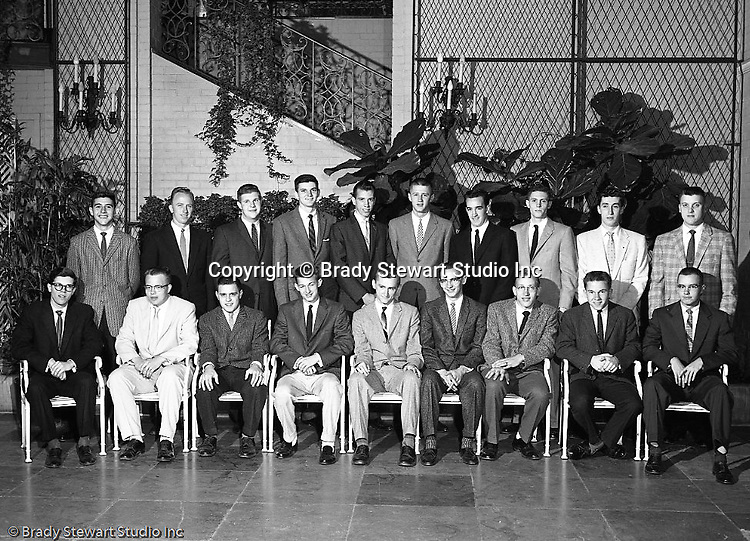 Pittsburgh PA:  View of the Caddies receiving college scholarships from the Western Pennsylvania Golf Association's Caddie Welfare Foundation for year 1958.  The Foundation was managed by Fidelity Trust Company and scholarships are agreed upon by the WPGA executive committee. This dinner was held at the Fox Chapel Country Club in Pittsburgh and the assignment was for Charles K. Robinson. The mission of the WPGA are to sanction championships, establish handicapping and rate area golf courses.