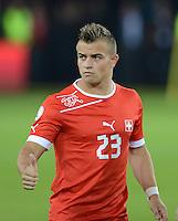 Fussball International  WM Qualifikation 2014   11.09.2012 Schweiz - Albanien Verhaltener Jubel ; Torschuetze Xherdan SHAQIRI (Schweiz) mit Dank an die Fans