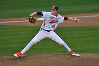 Pitcher Pat Krall (36) of the Clemson University Tigers delivers a pitch in a game against the Wofford College Terriers on Tuesday, March 1, 2016, at Doug Kingsmore Stadium in Clemson, South Carolina. Clemson won, 7-0. (Tom Priddy/Four Seam Images)