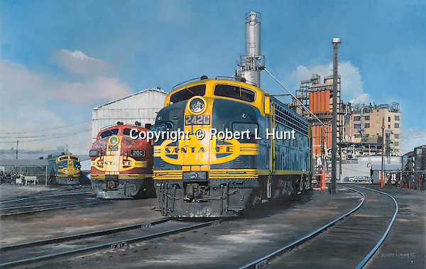 "Santa Fe F unit diesel locomotives sanding and fueling at an engine maintenance facility in Houston, Texas, with some units showing some well earned weathering. Oil on canvas, 18"" x 28""."