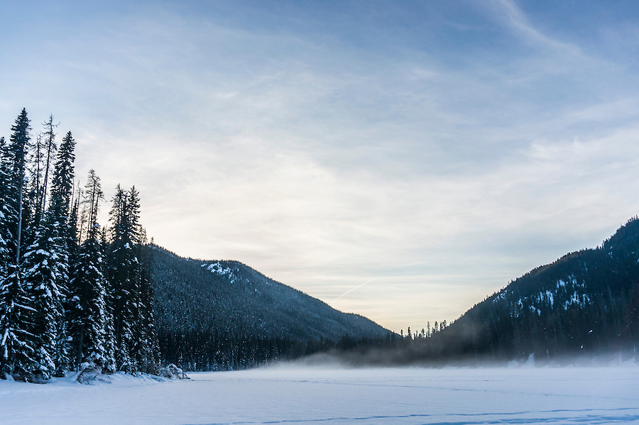 Snow blowing over Lightening Lakes in Manning Park, British Colombia, Canada.