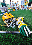 17 March 2012: University of Vermont Catamount Men's Lacrosse gear rests on the new Field Turf during the halftime break against the Sacred Heart University Pioneers at Virtue Field in Burlington, Vermont. The Catamounts defeated the visiting Pioneers 12-11 with only 10 seconds remaining in their non-conference matchup. Mandatory Credit: Ed Wolfstein Photo