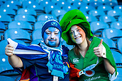 9th February 2019, Murrayfield Stadium, Edinburgh, Scotland; Guinness Six Nations Rugby Championship, Scotland versus Ireland; No mistaking where this couples loyalties lie as they wait for the start of the game