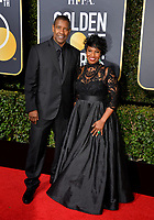 Denzel Washington &amp; Pauletta Washington at the 75th Annual Golden Globe Awards at the Beverly Hilton Hotel, Beverly Hills, USA 07 Jan. 2018<br /> Picture: Paul Smith/Featureflash/SilverHub 0208 004 5359 sales@silverhubmedia.com