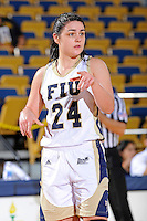 25 February 2012:  FIU guard Carmen Miloglav (24) signals to a teammate during the second half as the FIU Golden Panthers defeated the University of South Alabama Jaguars, 58-55 (OT), at the U.S. Century Bank Arena in Miami, Florida.