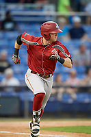 Altoona Curve third baseman Chase Simpson (7) runs to first base during a game against the Binghamton Rumble Ponies on May 17, 2017 at NYSEG Stadium in Binghamton, New York.  Altoona defeated Binghamton 8-6.  (Mike Janes/Four Seam Images)
