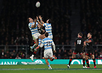 Argentina's Gonzalo Bertranou looks at the high ball <br /> <br /> Photographer Rachel Holborn/CameraSport<br /> <br /> International Rugby Union Friendly - Old Mutual Wealth Series Autumn Internationals 2017 - England v Argentina - Saturday 11th November 2017 - Twickenham Stadium - London<br /> <br /> World Copyright &copy; 2017 CameraSport. All rights reserved. 43 Linden Ave. Countesthorpe. Leicester. England. LE8 5PG - Tel: +44 (0) 116 277 4147 - admin@camerasport.com - www.camerasport.com