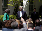 US Secretary of State John Kerry arrives for a joint press conference with President Barack Obama and Japan's Prime Minister Shinzo Abe at The White House in Washington DC for a State Visit, April 28, 2015. Credit: Chris Kleponis / CNP