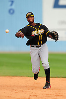 June 4, 2009  Shortstop Tim Beckham (26) of the Bowling Green Hot Rods makes a throw during a game at McCormick Field Asheville nc Bowling Green is the South Atlantic League League Low A affiliate of the Tampa Bay Rays.  Photo By Tony Farlow/Four Seam Images