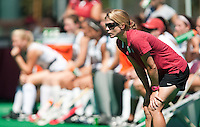 STANFORD, CA - SEPTEMBER 6: First-year coach Tara Danielson watches her team during competition against Michigan State on September 6, 2010 in Stanford, California.