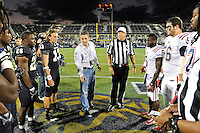 12 November 2011:  Honorary captain David Alfonso tosses the coin prior to the game.  The FIU Golden Panthers defeated the Florida Atlantic University Owls, 41-7, to win the annual Shula Bowl game, at FIU Stadium in Miami, Florida.