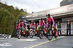 BePink team power off the start ramp during the Women's Team Time Trial of the 2018 UCI Road World Championships running 54.7km from Ötztal to Innsbruck, Innsbruck-Tirol, Austria 2018.<br /> Picture: Innsbruck-Tirol 2018 | Cyclefile<br /> <br /> <br /> All photos usage must carry mandatory copyright credit (© Cyclefile | Innsbruck-Tirol 2018)