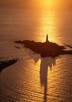 Boston Harbor lighthouse, Little Brewster Island, aerial view, sunrise, low tide, Boston, MA