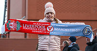 A young football fan poses for a picture outside Anfield, home of Liverpool<br /> <br /> Photographer Alex Dodd/CameraSport<br /> <br /> The Premier League - Liverpool v Manchester City - Sunday 14th January 2018 - Anfield - Liverpool<br /> <br /> World Copyright &copy; 2018 CameraSport. All rights reserved. 43 Linden Ave. Countesthorpe. Leicester. England. LE8 5PG - Tel: +44 (0) 116 277 4147 - admin@camerasport.com - www.camerasport.com