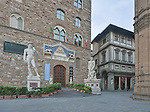 Europe, Italy, Tuscany, Florence, Palazzo Vecchio Entrance with copy of Michaelangelo's Statue of David