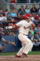 Spokane Indians outfielder Jake Skole #18 at bat during a game vs.the Eugene Emeralds at Avista Stadium in Spokane, Washington, on August 20, 2010. Photo By Robert Gurganus/Four Seam Images