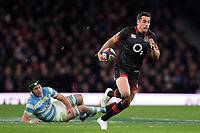 Alex Lozowski of England takes on the Argentina defence. Old Mutual Wealth Series International match between England and Argentina on November 11, 2017 at Twickenham Stadium in London, England. Photo by: Patrick Khachfe / Onside Images