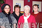 ARRIVED: Arrived at O'Donnels Bar & Restaurant Mounthawk Tralee on Tuesday night to celebrate Womens Christmas. Were l-r: Lorraine Hussey, Noreen Raymond, Anne Ashe and Maureen Hussey.......