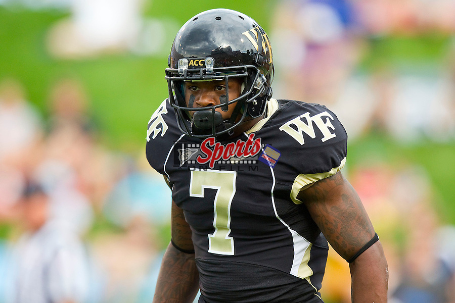 Merrill Noel (7) of the Wake Forest Demon Deacons during the game against the North Carolina Tar Heels at BB&T Field on September 8, 2012 in Winston-Salem, North Carolina.  The Demon Deacons defeated the Tar Heels 28-27.  (Brian Westerholt/Sports On Film)