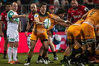 Jaguares' Tomas Cubelli kicks during the 2019 Super Rugby final between the Crusaders and Jaguares at Orangetheory Stadium in Christchurch, New Zealand on Saturday, 6 July 2019. Photo: Joe Johnson / lintottphoto.co.nz