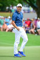 Rory McIlroy (NIR) reacts to barely missing his putt on 10  during Sunday's final round of the PGA Championship at the Quail Hollow Club in Charlotte, North Carolina. 8/13/2017.<br /> Picture: Golffile | Ken Murray<br /> <br /> <br /> All photo usage must carry mandatory copyright credit (&copy; Golffile | Ken Murray)