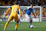Motherwell v St Johnstone...11.08.12.Paddy Cregg closed down by Keith Lasley.Picture by Graeme Hart..Copyright Perthshire Picture Agency.Tel: 01738 623350  Mobile: 07990 594431