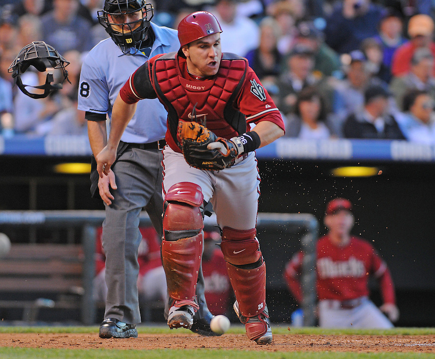 25 MAY 2011: Arizona Diamondbacks catcher Miguel Montero (26) during a regular season game between the Arizona Diamondbacks and the Colorado Rockies at Coors Field in Denver, Colorado. The Diamondbacks beat the Rockies 2-1 in second game of a split doubleheader.   *****For Editorial Use Only*****
