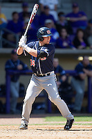 Auburn Tigers catcher Blake Austin #34 at bat against the LSU Tigers in the NCAA baseball game on March 24, 2013 at Alex Box Stadium in Baton Rouge, Louisiana. LSU defeated Auburn 5-1. (Andrew Woolley/Four Seam Images).