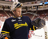 Collin Delia (Merrimack - 1) - The Boston University Terriers defeated the visiting Merrimack College Warriors 4-0 (EN) on Friday, January 29, 2016, at Agganis Arena in Boston, Massachusetts.