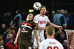 08.02.2019, Rheinenergiestadion, Köln, GER, DFL, 2. BL, VfL 1. FC Koeln vs FC St. Pauli, DFL regulations prohibit any use of photographs as image sequences and/or quasi-video<br /> <br /> im Bild Kopfball / Kopfballduell Luca Zander (#19, FC St. Pauli) Simon Terodde (#9, 1.FC Köln / Koeln)  <br /> <br /> Foto © nph/Mauelshagen