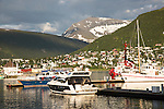 Boats in harbour marina, city centre of Tromso, Norway