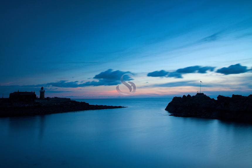 Portpatrick Harbour and Lighthouse at dusk, Portpatrick, Dumfries and Galloway