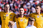 Jackson Irvine (L), Jamie Maclaren (C) and Chris Ikonomidis of Australia (R) prior to the AFC Asian Cup UAE 2019 Group B match between Palestine (PLE) and Australia (AUS) at Rashid Stadium on 11 January 2019 in Dubai, United Arab Emirates. Photo by Marcio Rodrigo Machado / Power Sport Images
