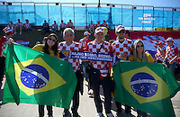 Croatia and Brazil fans have their photograph taken together outside the Itaquerao stadium ahead of kick off in the opening match of the 2014 World Cup