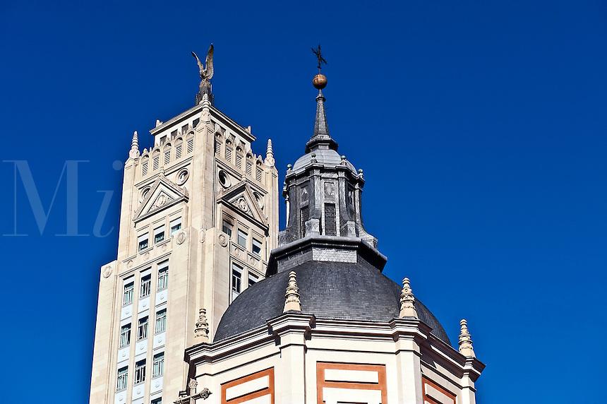 Building details along Alcala Street, Madrid, Spain