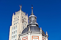 Building details along Alcala Street, Madrid, Spain