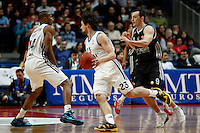 Real Madrid's Marcus Slaughter, Sergio Llull and Brose's Karsten Tadda during Euroliga match. February 28,2013.(ALTERPHOTOS/Alconada)