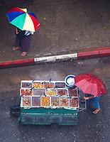 Tropical rain and Monsoon Season looking down into the streets in Yangon, Myanmar