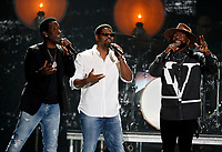 NASHVILLE, TN - JUNE 5: Shawn Stockman, Nathan Morris and Wanya Morris of Boyz II Men perform on the 2019 CMT Music Awards at Bridgestone Arena on June 5, 2019 in Nashville, Tennessee. (Photo by Frederick Breedon/PictureGroup)