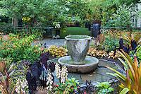 Urn fountain focal point in patio garden room, Chanticleer Garden,