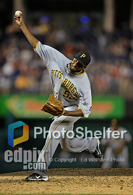 17 May 2012: Pittsburgh Pirates pitcher James McDonald on the mound against the Washington Nationals at Nationals Park in Washington, DC. The Pirates defeated the Nationals 5-3 in the second game of their 2-game series. Mandatory Credit: Ed Wolfstein Photo