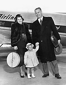 Ann Arbor, MI - FILE -- United States Representative Gerald R. Ford (Republican of Michigan) with Mrs. Betty Ford and Michael at the Grand Rapids Airport. Date: October 11, 1951<br /> Credit: Courtesy Gerald R. Ford Library via CNP