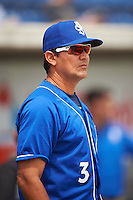 Biloxi Shuckers manager Carlos Subero (3) before the first game of a double header against the Pensacola Blue Wahoos on April 26, 2015 at Pensacola Bayfront Stadium in Pensacola, Florida.  Biloxi defeated Pensacola 2-1.  (Mike Janes/Four Seam Images)
