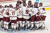 Eagles huddle around their net pregame. - The Boston College Eagles defeated the visiting Providence College Friars 7-1 on Friday, February 19, 2016, at Kelley Rink in Conte Forum in Boston, Massachusetts.