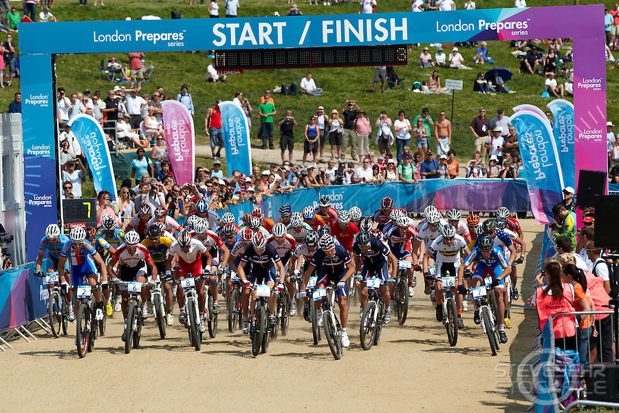 Start of Mens race . London Prepares Mountain Bike Olympic Test Event , Hadleigh Farm , Essex , July 2011 pic copyright Steve Behr / Stockfile